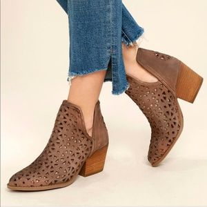 Anthro Musse & Cloud split ankle laser cut booties
